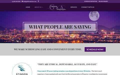 Screenshot of Testimonials Page arizonacourtreporters.com - Testimonials - Griffin & Associates - captured Sept. 22, 2017