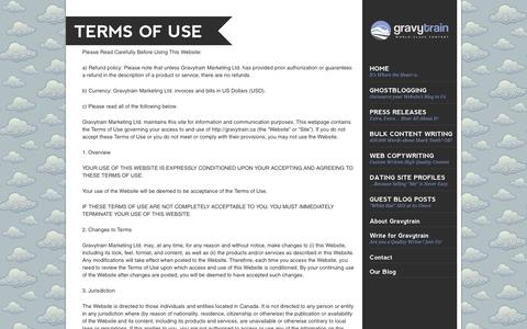 Screenshot of Terms Page gravytrain.ca - Terms of Use - captured Oct. 3, 2014