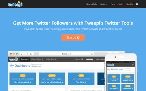 Screenshot of Home Page tweepi.com - Get More Twitter Followers Fast & Easy with Tweepi - captured Aug. 16, 2016