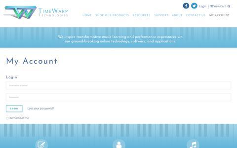 Screenshot of Login Page timewarptech.com - My Account - TimeWarp Technologies - captured Oct. 25, 2017
