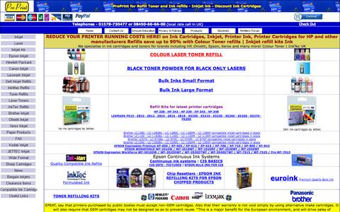 Screenshot of Home Page proprint.co.uk - REFILL TONER Kits | Ink Cartridges UK | Refill Ink Cartridges | Printer Ink | Printer Cartridge | HP Cartridge - captured Sept. 30, 2014