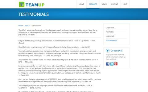 Screenshot of Testimonials Page teamup.com - Teamup Calendar | User Testimonials - captured Sept. 19, 2014