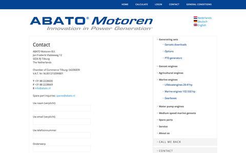 Screenshot of Contact Page abato.nl - ContactKontaktContact - ABATO Motoren - captured Nov. 2, 2014