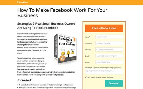 Screenshot of Landing Page thrivehive.com - How To Make Facebook Work For Your Business | ThriveHive - captured Oct. 27, 2014