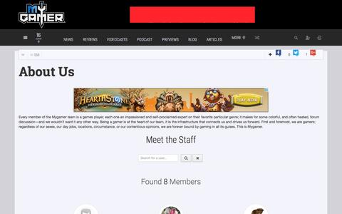 Screenshot of About Page mygamer.com - About us - captured Dec. 3, 2016