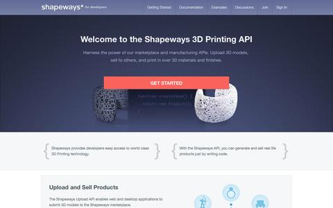 Screenshot of Developers Page shapeways.com - Make Apps with the Shapeways 3D Printing API - captured Sept. 17, 2014