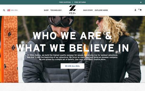 Screenshot of About Page zealoptics.com - US Zeal Optics - captured Jan. 16, 2016