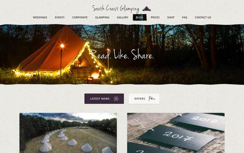 Screenshot of Press Page southcoastglamping.co.uk - Latest News Archives - South Coast Glamping - captured Aug. 15, 2016