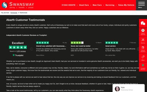 Screenshot of Testimonials Page swanswaygarages.com - Abarth Car Dealer Testimonials | Chester | Swansway Abarth - captured Oct. 23, 2018