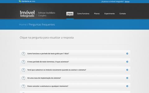 Screenshot of FAQ Page imovelintegrado.com.br - Software para imobiliárias | Softwares para imobiliárias | Softwares para corretores - Imovel Integrado, Sistema de gerenciamento imobiliario com site integrado - captured April 15, 2016