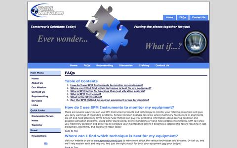 Screenshot of FAQ Page pdmsvc.com - PdM Services - FAQs - captured Oct. 2, 2014