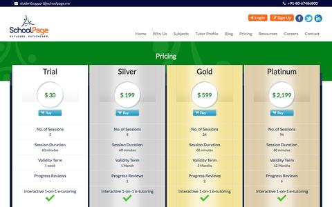 Screenshot of Pricing Page schoolpage.me - Pricing - captured May 17, 2017