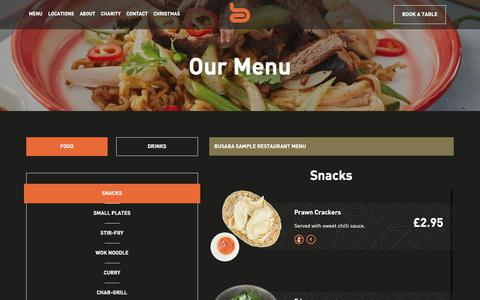 Screenshot of Menu Page busaba.com - Our Menu | Busaba Bangkok Thai - captured Sept. 25, 2018