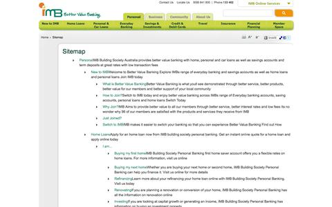 Screenshot of Site Map Page imb.com.au - Sitemap - IMB Building Society Personal Banking - captured Sept. 23, 2014