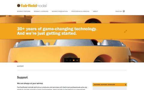 Screenshot of Support Page fairfieldnodal.com - Support — FairfieldNodal - captured Sept. 30, 2014