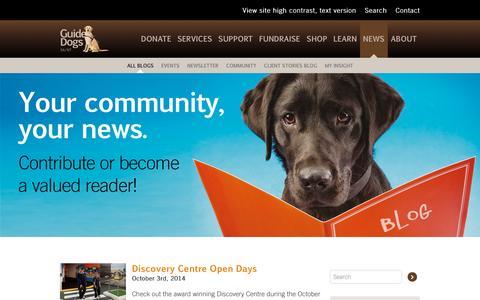 Screenshot of Blog guidedogs.org.au - Blogs –       GuideDogs SA/NT - captured Oct. 3, 2014