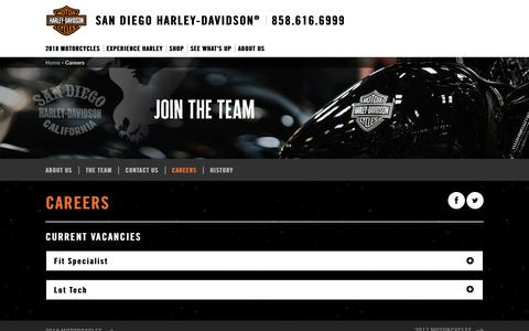 Screenshot of Jobs Page sandiegoharley.com - Careers | San Diego Harley-Davidson® - captured Oct. 5, 2017