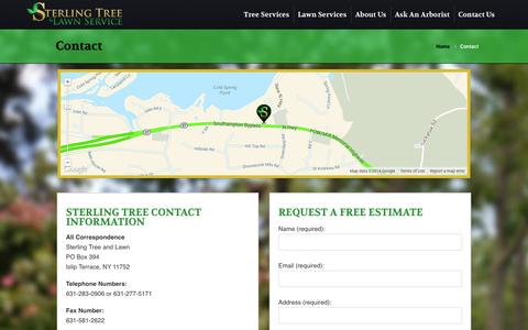 Screenshot of Contact Page sterlingtree.com - Contact | Sterling Tree & Lawn - captured Oct. 7, 2014