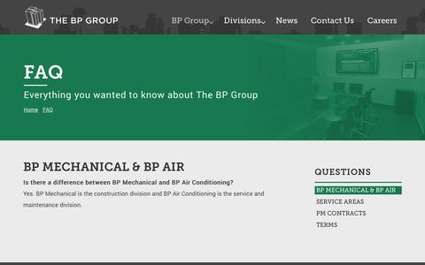 Screenshot of FAQ Page bpgroup.com - Frequently Asked HVAC Questions - captured Oct. 5, 2018