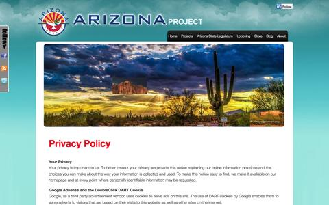Screenshot of Privacy Page azproject.org - Privacy Policy | Arizona Project - captured Sept. 23, 2014