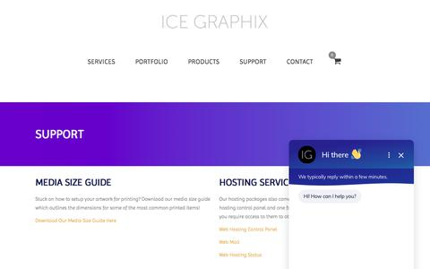 Screenshot of Support Page icegraphix.co.uk - Support - ICE GRAPHIX - captured Sept. 11, 2018
