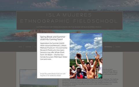 Screenshot of Testimonials Page anthrofieldschool.com - Isla Mujeres Ethnographic Fieldschool | TESTIMONIALS - captured Oct. 15, 2017