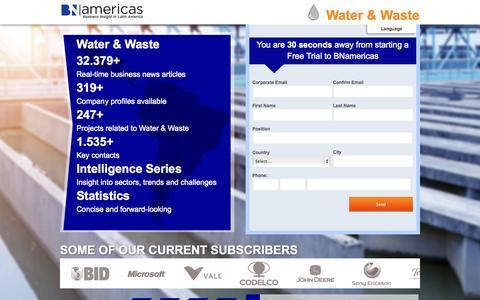Screenshot of Trial Page bnamericas.com - Take a Free Trial BNamericas | Latin America's Business News - captured Oct. 4, 2014