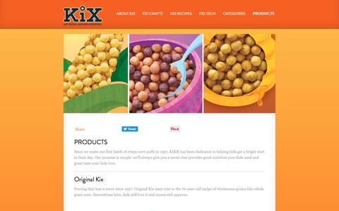 Screenshot of Products Page kixcereal.com - PRODUCTS · Kix Cereal - captured June 21, 2017