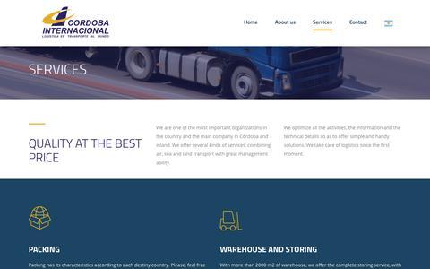 Screenshot of Services Page cordobaintl.com.ar - Services – Cordoba Internacional - captured Sept. 25, 2018
