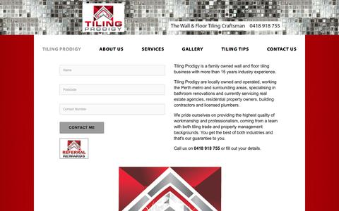 Screenshot of Home Page tilingprodigy.com - Tiling Prodigy - captured Oct. 1, 2014