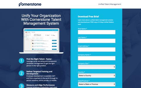 Screenshot of Landing Page cornerstoneondemand.com - Talent Management System | Cornerstone - captured Nov. 3, 2016