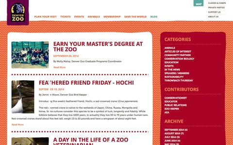 Screenshot of Blog denverzoo.org - Blog | Denver Zoo - captured Sept. 23, 2014
