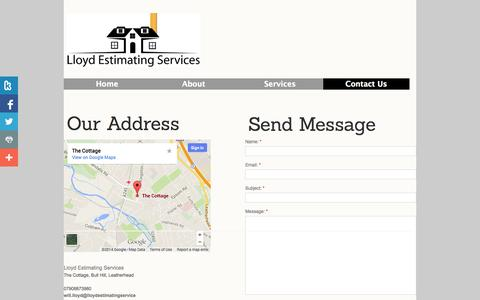 Screenshot of Privacy Page Contact Page lloydestimatingservices.com - Lloyd Estimating Services - Contact Us - captured Oct. 23, 2014