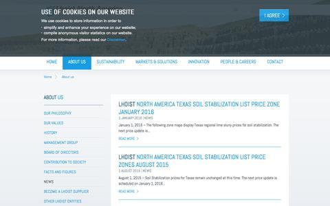 Screenshot of Press Page lhoist.com - Lhoist - Minerals and lime producer - captured June 18, 2016