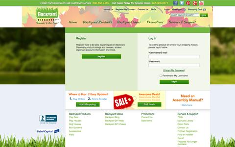 Screenshot of Login Page swingsetsonline.com - Login to your Backyard Discovery Online Account - captured Oct. 5, 2014