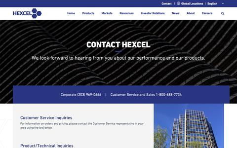 Screenshot of Contact Page hexcel.com - Contact Us About your Composite Materials Needs - captured Feb. 11, 2019