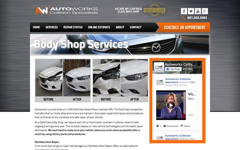 Screenshot of Services Page autoworksms.com - Body Shop - Autoworks Collision - Services - captured Feb. 6, 2016