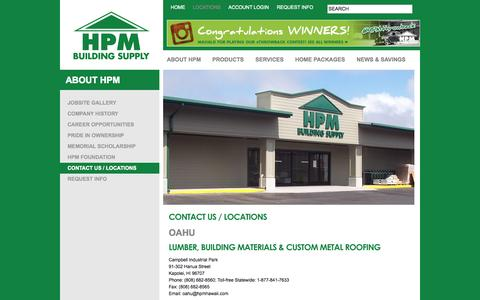 Screenshot of Contact Page Locations Page hpmhawaii.com - Locations  |  Contact Us  | HPM | Hawaii Building Supplies - captured Oct. 22, 2014