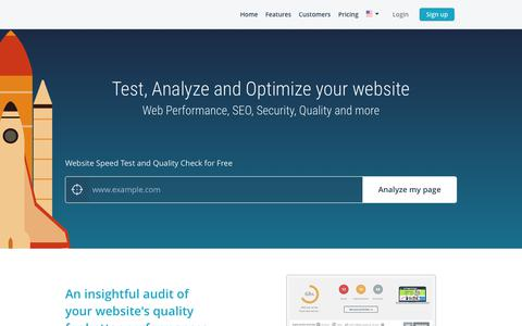 Screenshot of Home Page dareboost.com - Website Speed Test and Website Analysis – Free test | Dareboost - captured April 26, 2018