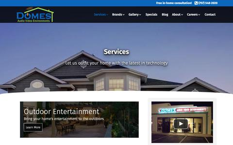 Screenshot of Services Page domesav.com - Domes AV | Services - Home Theater, Automation, Lighting Control & more - captured Oct. 9, 2018