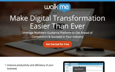 Screenshot of Landing Page walkme.com - Make Digital Transformation Easier Than Ever - WalkMe™ - Digital Adoption Platform - captured Sept. 27, 2018