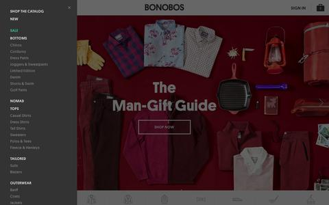 Screenshot of Home Page bonobos.com - Better-Fitting, Better-Looking Men's Clothing & Accessories | Bonobos - captured Nov. 11, 2015