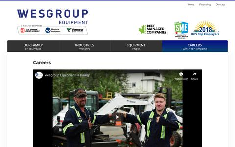 Screenshot of Jobs Page wesgroupequipment.com - Careers with BC's Top Employer | Wesgroup Equipment - captured Nov. 18, 2018