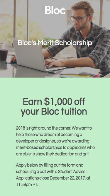 Bloc | $1,000 Merit Scholarship