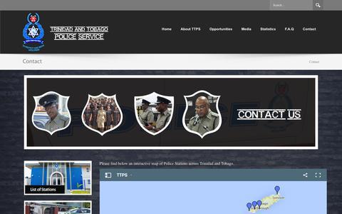 Screenshot of Contact Page ttps.gov.tt - Trinidad & Tobago Police Service - captured Jan. 12, 2016