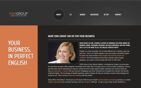 Screenshot of Home Page About Page kxmgroup.dk - Freelance Engelsk Tekstforfatter i København - captured Sept. 30, 2014