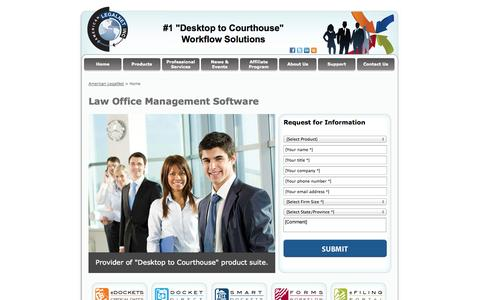 Screenshot of Home Page alncorp.com - Law Firm Management Software,  Legal Calendar, American LegalNet - captured Oct. 3, 2014