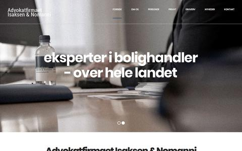 Screenshot of Home Page isaksennomanni.dk - Advokatfirmaet Isaksen & Nomanni - captured Sept. 23, 2018