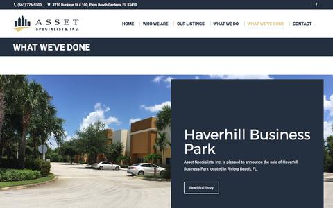 Screenshot of Case Studies Page assetspecialists.com - What We've Done – Asset Specialists, Inc. - captured Oct. 9, 2017
