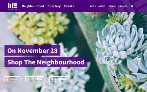 Screenshot of Home Page westendbia.com - West End Business Improvement Association - captured Nov. 27, 2015